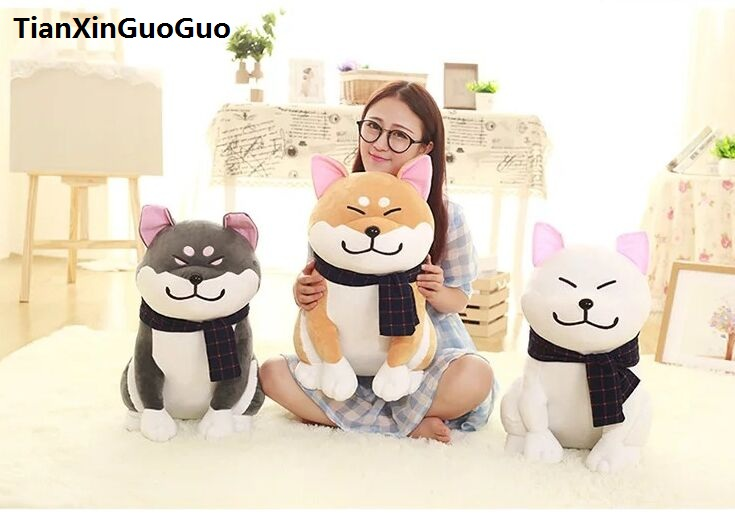 large 48cm lovely squatting cartoon fat Akita dog plush toy soft doll throw pillow birthday gift h0828 1pc 58cm kawaii plush akita dog toy stuffed animal doll soft pillow with blanket cute hand warmer lovely gift for kids