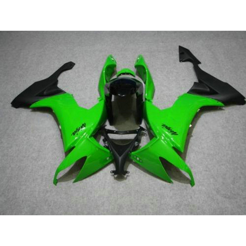 Custom free ABS motorcycle factory fairing for Kawasaki ZX 10R 2008 2009 2010 green black body repair Fairings Ninja ZX10R 08-10