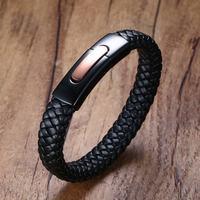 Elegant Mens Black Genuine Leather Braided Bracelets Cuff Bangle Men Wristband With Matt Stainless Steel Clasp