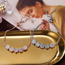 HOCOLE Fashion Charm Crystal Metal Bracelet Bangles For Women Gold Silver Color Rhinestone Round Wedding Party Jewelry
