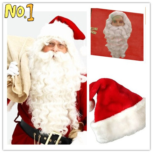 hot sale white long kinky curly christmas santa claus