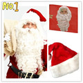 Hot Sale! White Long Kinky Curly Christmas Santa Claus Cosplay Synthetic Head Hair Wigs Cheap Old Man Male Cosplay With Beard