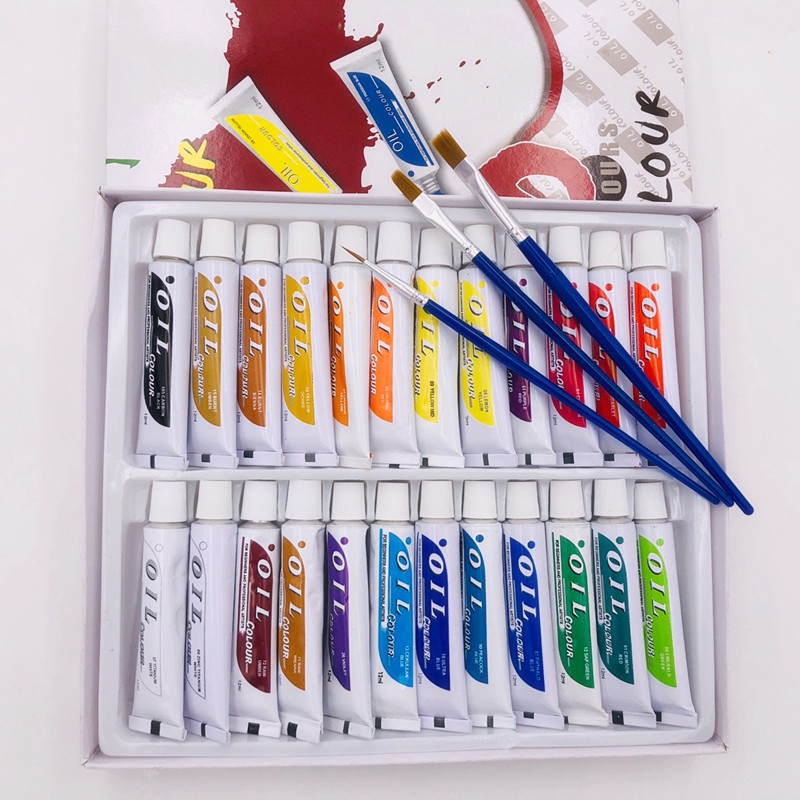 24pcs Professional Tube Oil Paints Art For Artists Canvas Pigment Art Supplies Drawing 12ML 24Colours Free For 3 Brushes