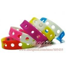 20pcs/lot Mix Style Random Silicone Bracelet Wristband 18cm Fit Shoe Charms croc Buckle Rubber Wrist Strap