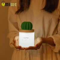 USB Cactus Air Humidifier Ultrasonic Humidifiers with Night Light Mist Maker Aromatherapy Diffuser Mist Maker for Home Car 280ML