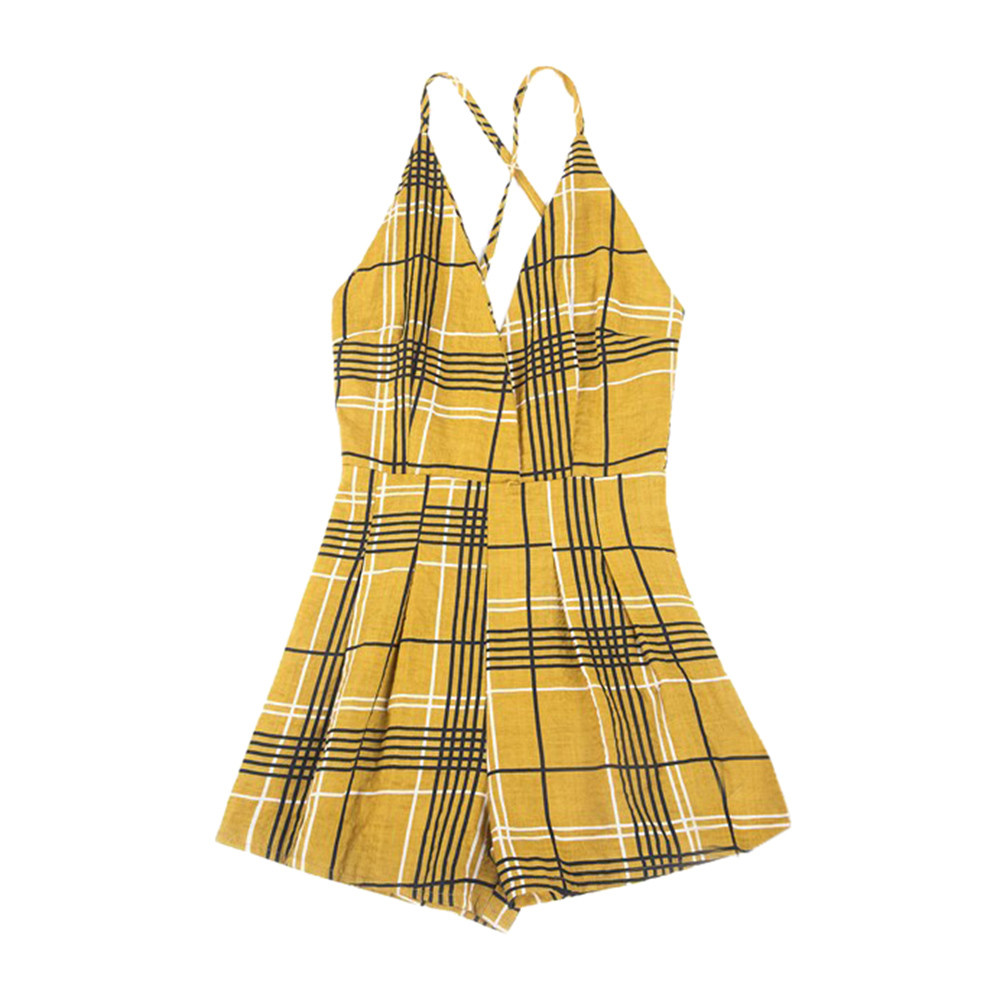 ff2a17542e Summer Women Casual Playsuit Shorts Elegant Ladies Boho Plaid Printed  Jumpsuits Beach Style Womens Sexy V-Neck Rompers  Ni - Online Shopping For  Electronics ...