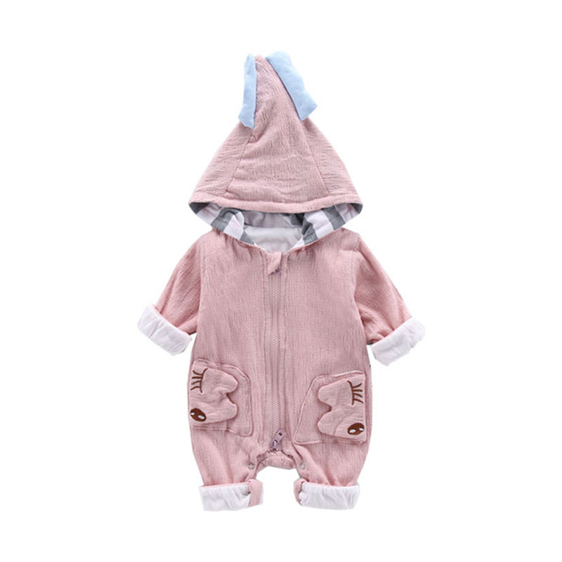 Striped Hooded Baby Rompers Warm Kids Clothes Spring Autumn Infant Clothing Cute Animal Newborn Jumpsuits boys girls clothes цена