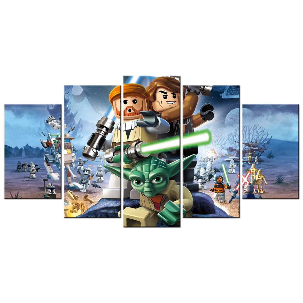 Contemporary art lego star wars the video game poster canvas contemporary art lego star wars the video game poster canvas living room decor pictures prints mural wall art 5 panel canvas in painting calligraphy from amipublicfo Gallery
