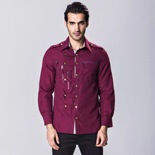 Brand New Men s Casual Shirt Social Button Embellished Shirt Full Sleeve Turn Down Collar