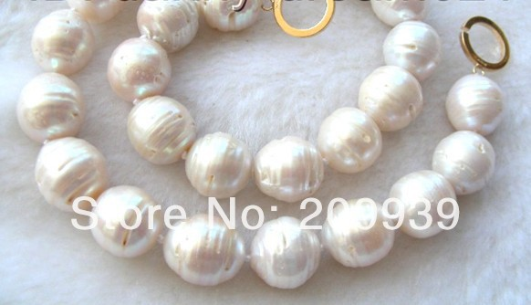 FREE SHIPPING>>>@@ AS3393 AMAZING huge 18mm white SOUTH Reborn keshi pearls necklace
