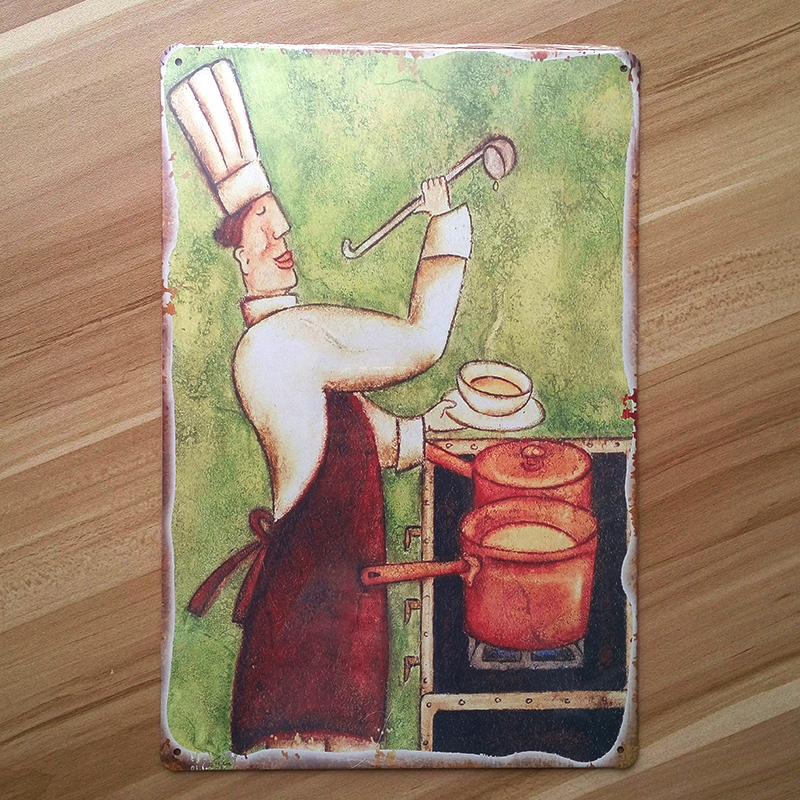 "Retro decor ""Kitchen chef "" Restaurant Wall art decor House Coffee Tin sign Vintage craft Painting Metal 20*30 CM plaques"