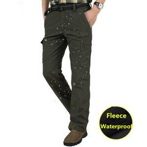 Image 5 - גברים של צמר טקטי למתוח מכנסיים החורף מקרית חם מכנסיים מטען צבאי SoftShell לעבוד מכנסיים עבה חם עמיד למים מכנסיים