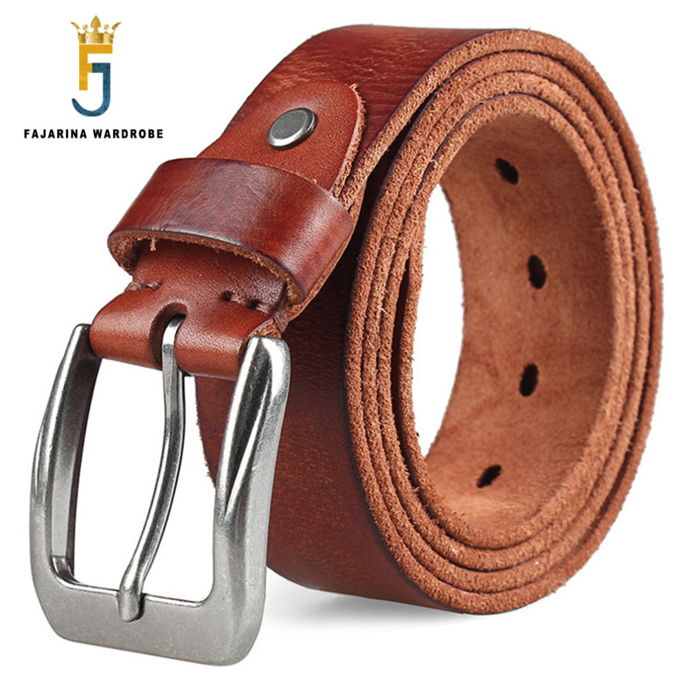 FAJARINA Unique Crackle Buckle Metal Belt First Head Layer Casual Jeans Fashion Quality Cow Skin Leather