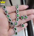 100% Natural Diopside jewelry set Genuine solid 925 sterling silver Green gem Stone sets ring earring bracelet pendant necklace