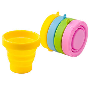 Portable Silicone Folding Cup with Lid Collapsible Travel