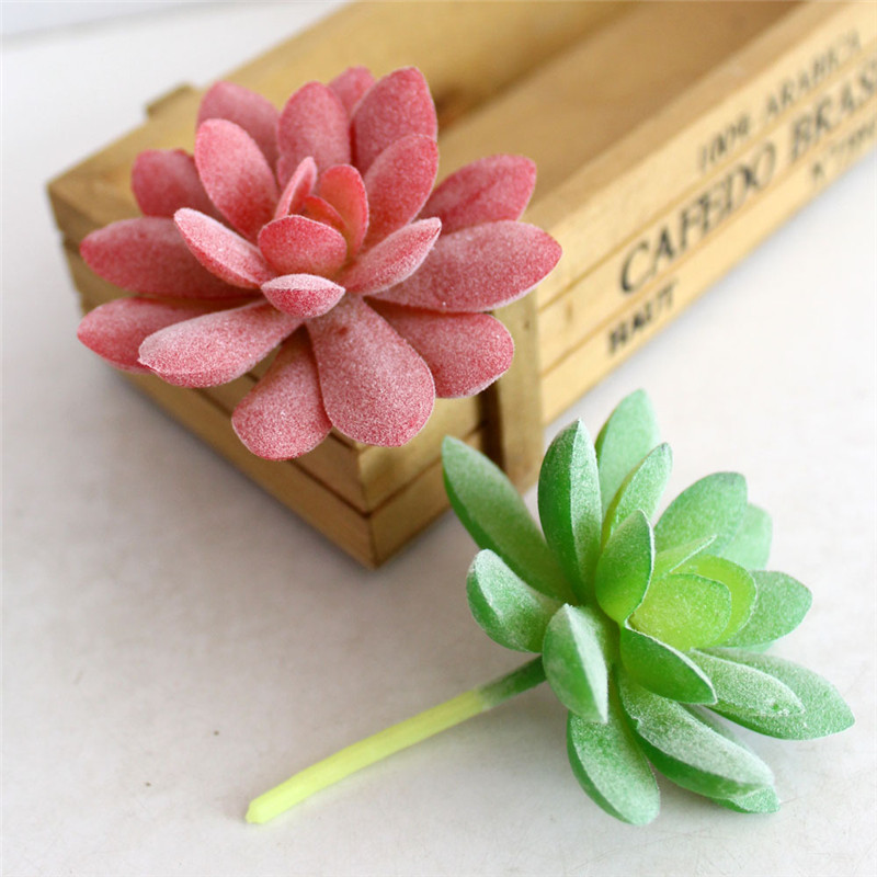 1pcs diy garden home decoration simulation succulents flocking gem artificial flowers ornaments artificial succulents plants ein artificial u0026 dried flowers