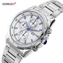2016 Marca LONGBO Luminosa Relojes de Los Hombres de Lujo Analógico Reloj Masculino de Acero Inoxidable Reloj de Cuarzo Reloj de pulsera de Cuarzo de Moda 80012