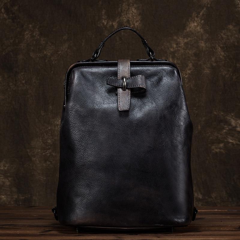 Women Genuine Leather Backpack Bag Knapsack Brush Color Multi-Capacity Cowhide Vintage Trends Female Lady Daypack Rucksack