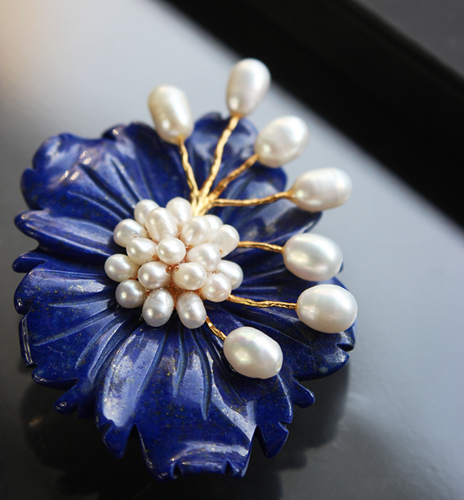 Free shipping Free shipping High-end Italian custom 925 silver and natural pearl lapis brooch