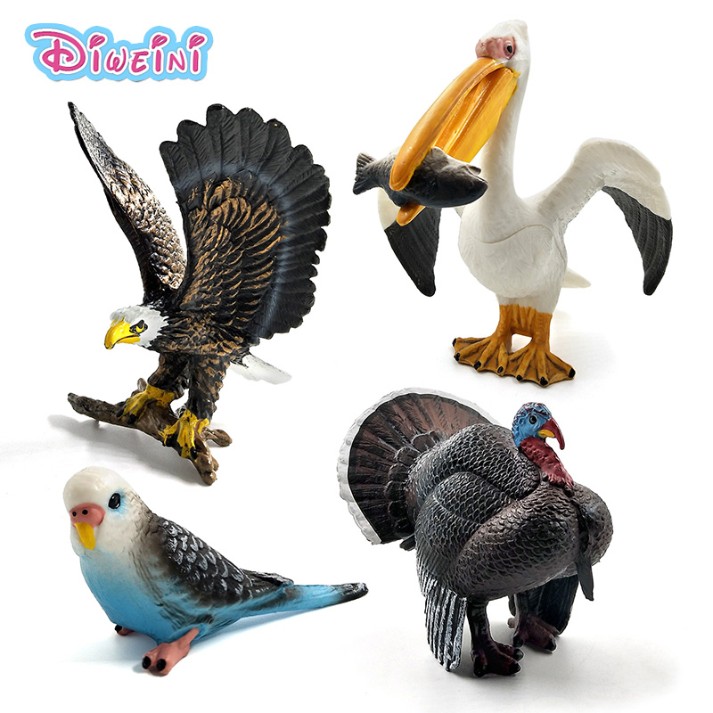 Hot Toys Sea Eagle Parrot Turkey Bird Action Figure Plastic Animal Model Fairy Garden Decoration Figurine One Piece Gift For Kid