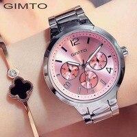 GIMTO Brand Rose Gold Women Watches Business Quartz Ladies Watch Steel Luxury Lovers Bracelet Wristwatch Clock