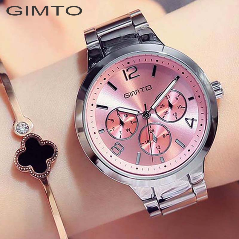GIMTO Brand Rose Gold Women Watches Business Quartz Ladies Watch Steel Luxury Lovers Bracelet Wristwatch Clock Relogio Feminino relogio luxury quartz women watches brand gold fashion business bracelet ladies watch waterproof wristwatch relogio femininos