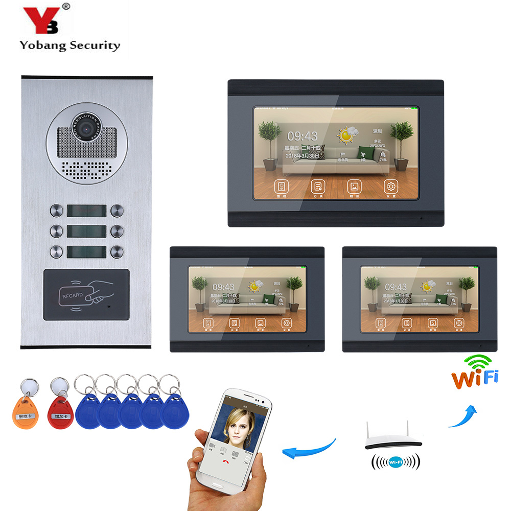 YobangSecurity 3 Units Apartment 7 Inch Monitor Wifi Wireless Video Door Phone Doorbell Intercom KIT Video Recording APP Control yobangsecurity 5 units apartment video intercom 7 inch lcd wifi wireless video door phone doorbell video recording app control