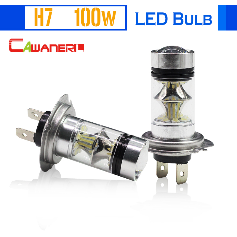 Cawanerl H7 100W Car LED Bulb 20 SMD 2200LM White 6000K Conversion Auto Fog Light Headlight Low Beam DRL Daytime Running Light cawanerl 1 pair 100w h3 car led bulb 20 smd 2200lm white 6000k automotive fog light daytime running lamp headlight low beam drl