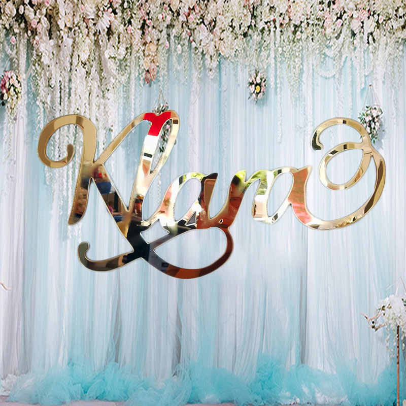 Custom Mirror Gold Name Sign Personalized Acrylic Name Wedding Signs Party Decor Backdrop Hanger