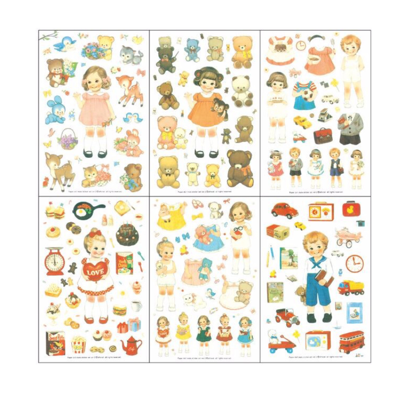 Hot Sale 6 lakan / Set Cartoon Söt Curly Hair Paper Doll Mate Life Dekorativt Klistermärke DIY Diary Album Etikett Scrapbook Stickers