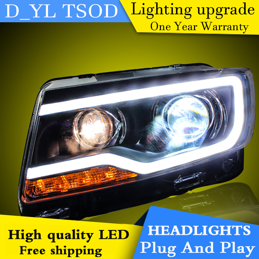 Car Styling Headlights for JEEP Compass 11-15 LED Headlight for Compass Head Lamp LED Daytime Running Light LED DRL Bi-Xenon HID