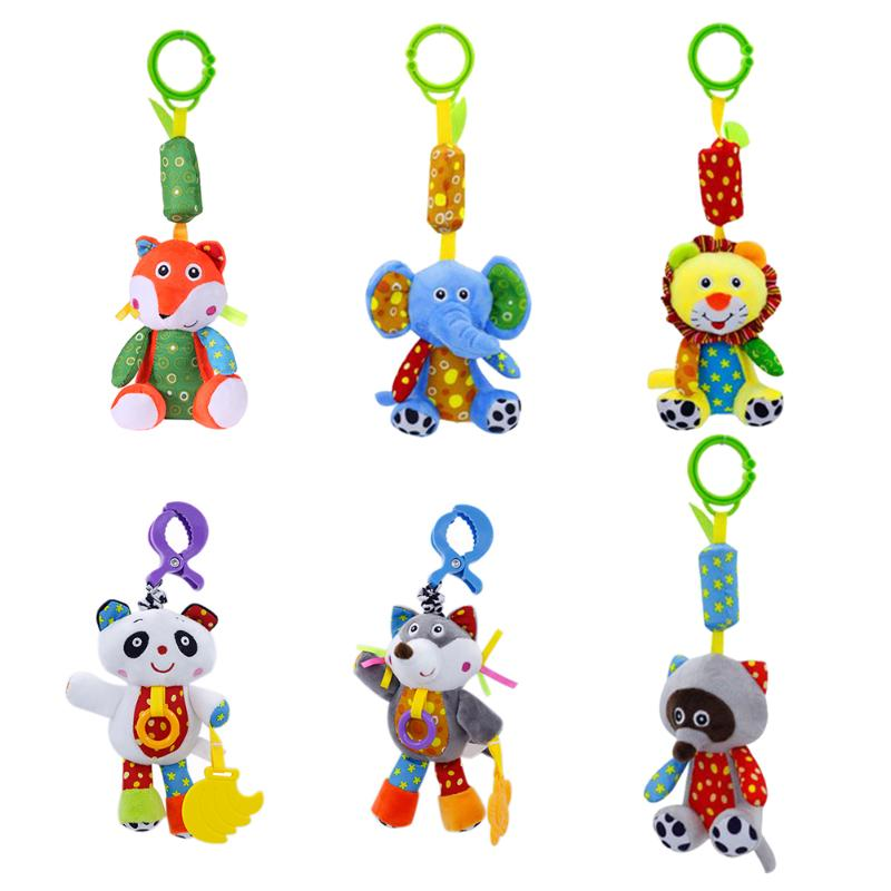 Cartoon Rattles Animals Newborn Baby Plush Rattles Mobiles Teether Appease Toy Soft Comfort Stroller Hanging Bed Dolls Gift