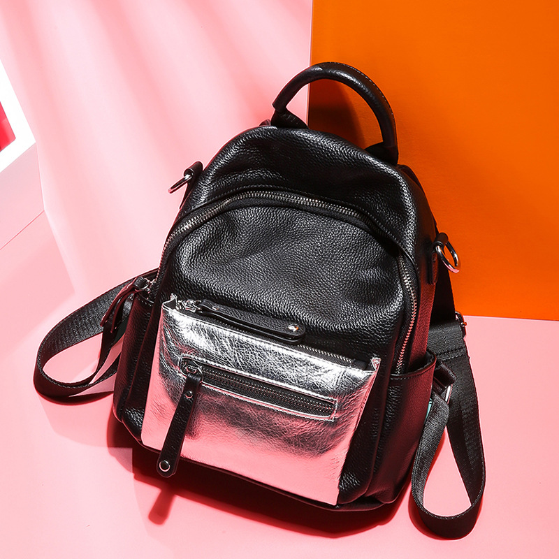 Silver Panelled Fashion Women Bagpack Daul use Luxury Quality Ladies Backpack 100 Genuine Leather Teenager Girl