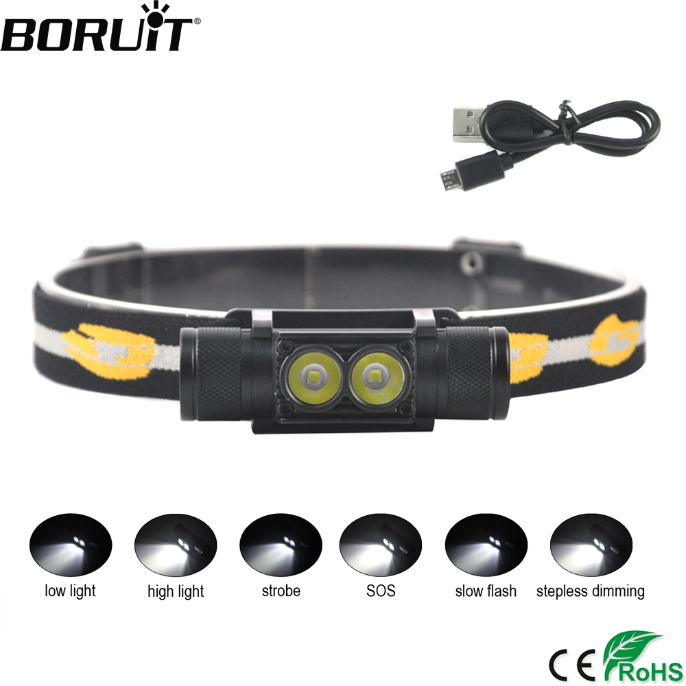 BORUiT D25 XP-G2 LED Mini Headlight 6-Mode USB Charger Headlamp Camping Flashlight Hunting Frontal Head Torch by 18650 Battery