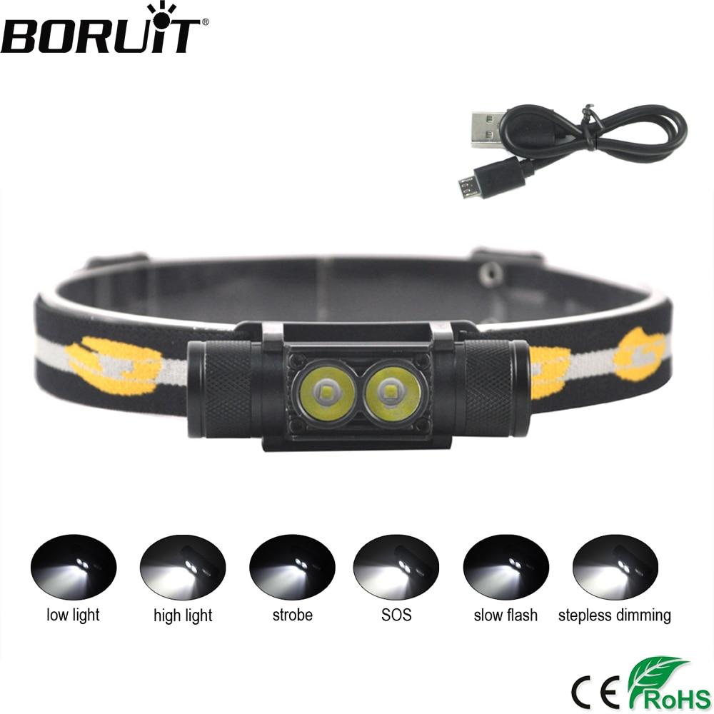 BORUiT D25 XP-G2 LED Mini Scheinwerfer 6-Modus USB Ladegerät Scheinwerfer Camping Taschenlampe Jagd Frontal Kopf Fackel durch 18650 batterie