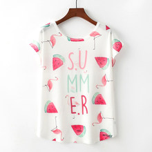 2018 Summer Women Short Sleeve O Neck T Shirt Flamingo and Watermelon Print Wemen's Clothing Lovely T-shirt Top Size M L XL(China)