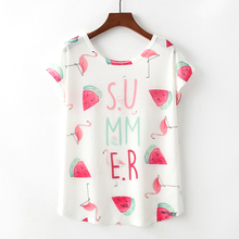 2019 Summer Women Short Sleeve O Neck T Shirt Flamingo and Watermelon Print Wemen's Clothing Lovely T-shirt Top Size M L XL