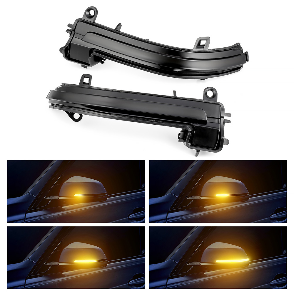Dynamic LED Turn Signal Side Wing Rearview Mirror Indicator Water Flowing Blinker Repeater Light For BMW