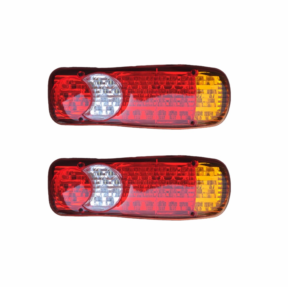 1 Pair 46 LED Car Rear Taillights 12V 24V Truck Stop Brake Lamp Renault Turn Signal Lights Red Yellow White