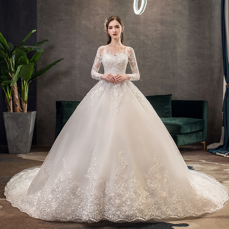 2019 New Vintage O Neck Full Sleeve Wedding Dress Illusion Simple Lace Embroidery Custom Made Bridal Gown Vestido De Noiva L(China)
