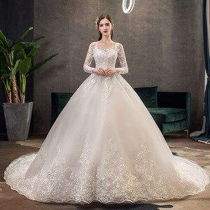 Image 1 - 2021 חדש Vintage O צוואר מלא שרוול שמלות כלה אשליה פשוט תחרה רקמה תפור לפי מידה כלה שמלת Vestido דה Noiva L