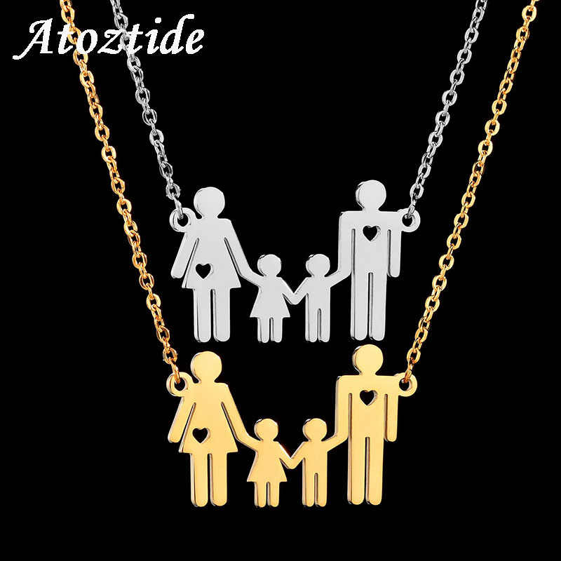 Atoztide Women Cute Heart Mom Dad Boy Girl Family Necklace Stainless Steel Gold Color Figure Parents Kids Chain Necklace