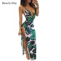 BeautyStay Cotton Long Halter Backless Summer Dress Maxi Party Evening Women Party Elegant Sexy Deep V