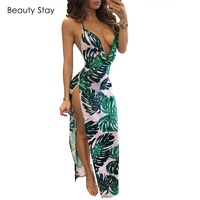 BeautyStay Cotton Long Halter Backless Summer Dress Maxi Party Evening Women Party Elegant Sexy Deep V