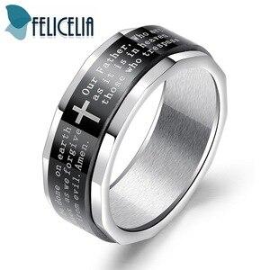 Felicelia, винтажное религиозное ювелирное изделие, мужское кольцо из нержавеющей стали, вращающееся, святое, Библейское, Молитвенное, крестово...