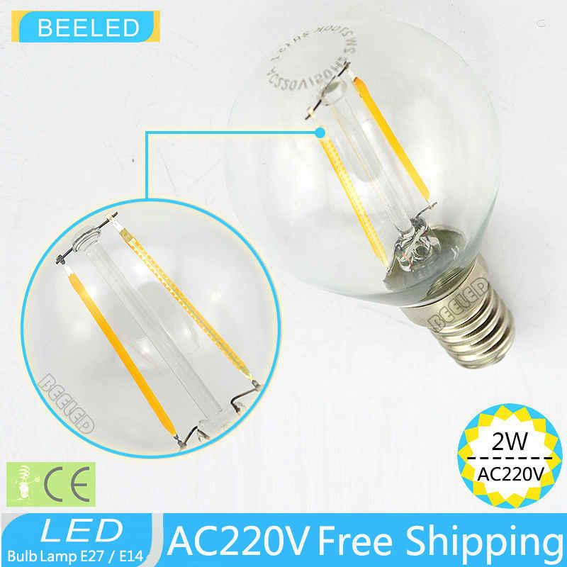 E14 6 шт./лот светодиодный Лампа накаливания Бесплатная доставка 2700 К светодиодный Edison ЛАМПЫ внутреннего светодиодный свет ясно Стекло AC200-240V CE 2 вт 4 Вт