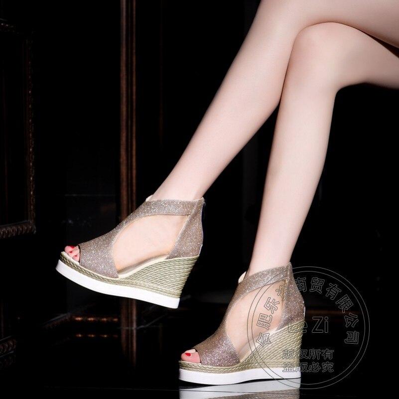 Plain font b Women b font Shoes Wedge Leisure Cement Fashion Soft Leather font b Women