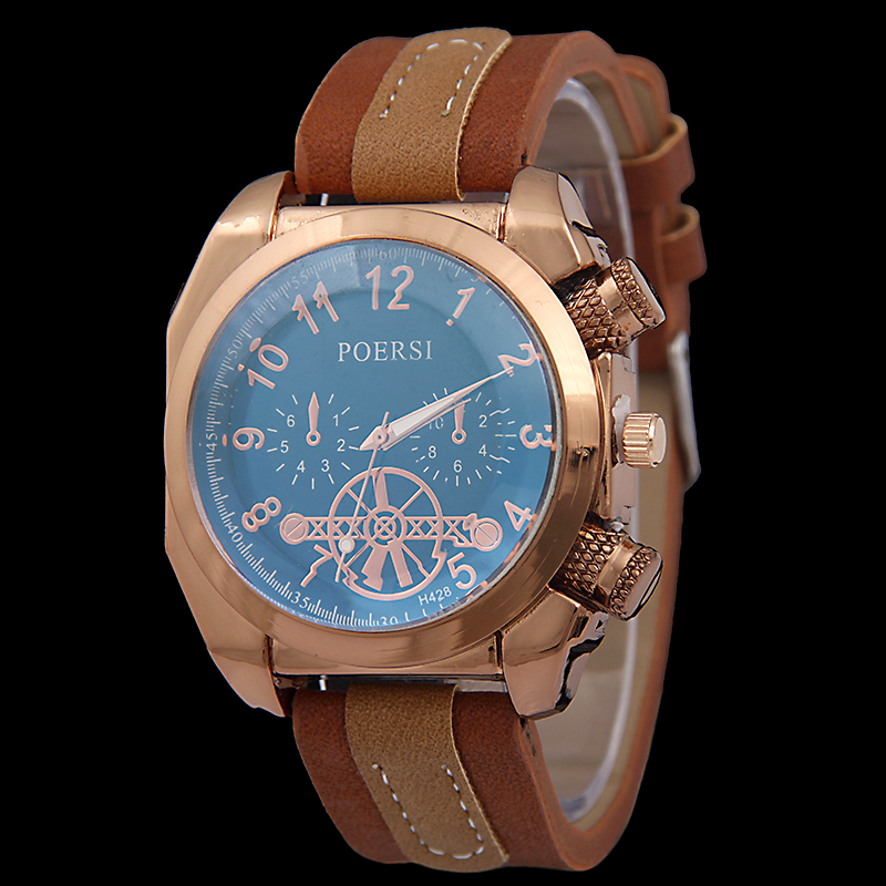 New leather watch men square rose gold watch head sport quartz watch personality digital outdoor sport watches relogio masculino