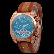Nueva cabeza del reloj del cuarzo del deporte del reloj de los hombres de cuero cuadrada de oro rosa reloj de la personalidad digital de deporte al aire libre relojes relogio masculino