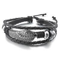 Fashion Vintage The Trend Of Male Leather Details About Alloy Genuine Leather Bracelet Bangle Men Black